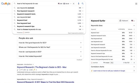Keyword Surfer SEO Tool