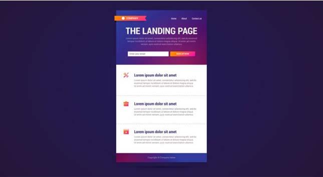 Fast Loading Landing Page